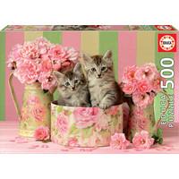 thumb-Chatons avec des roses - puzzle de 500 pièces-1
