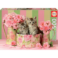 thumb-Kittens between the roses - jigsaw puzzle of 500 pieces-1