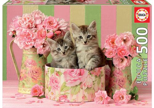 Educa Katjes tussen de rozen - 500 stukjes