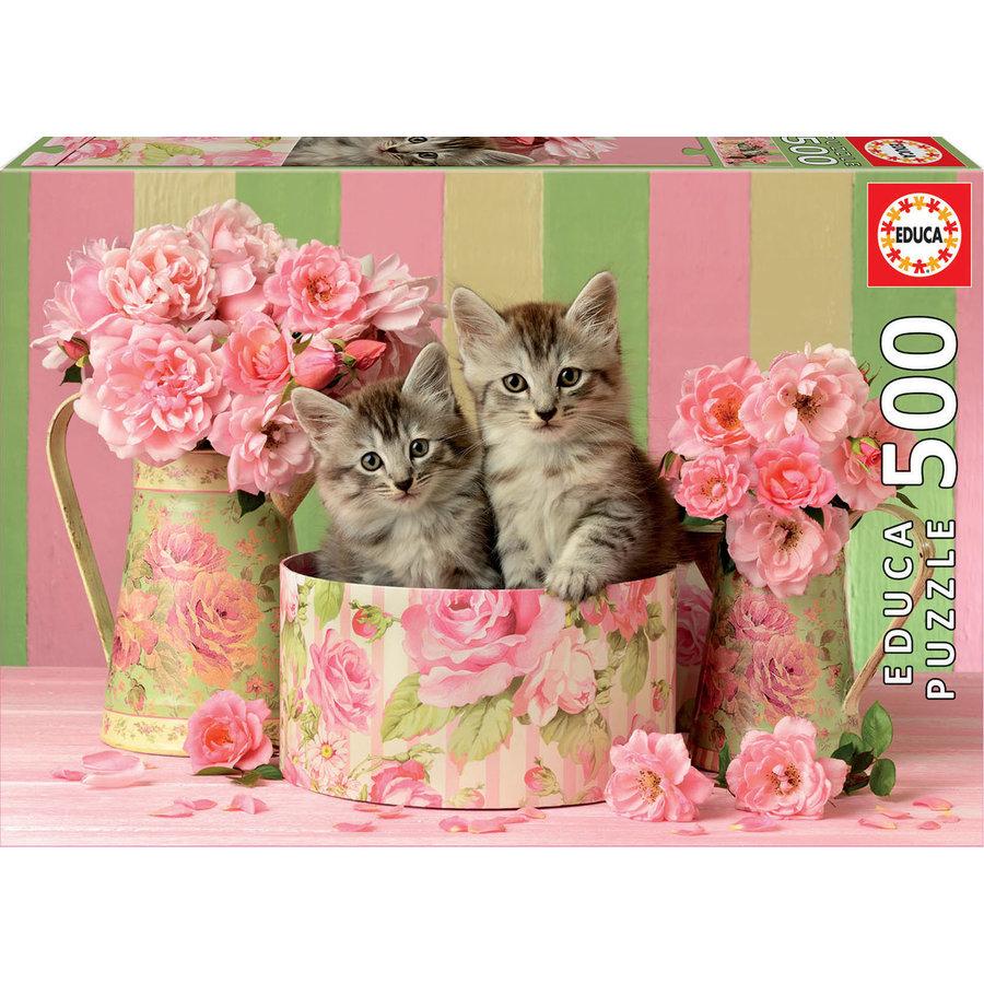 Chatons avec des roses - puzzle de 500 pièces-1