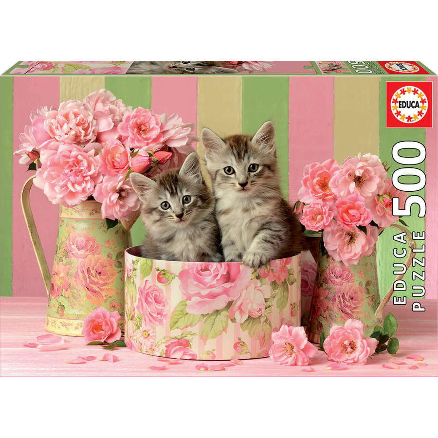 Kittens between the roses - jigsaw puzzle of 500 pieces-1