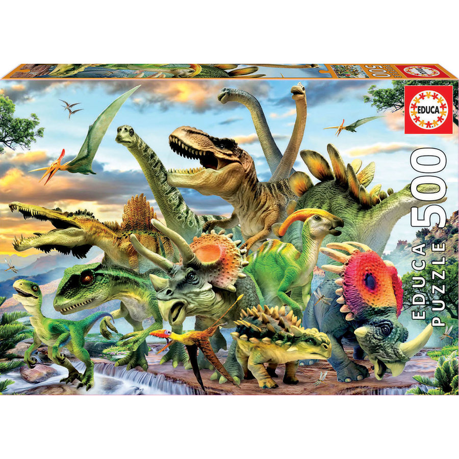 De puissants dinosaures - puzzle de 500 pièces-1