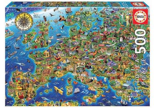 Educa De kaart van Europa - 500 stukjes