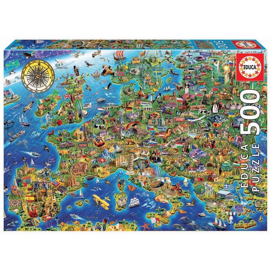 De kaart van Europa  - legpuzzel van 500 stukjes-1