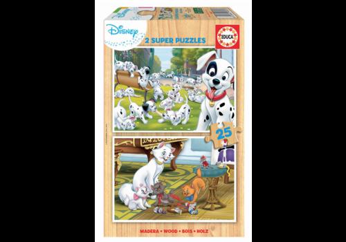 Educa BOIS: Disney - Dalmatiens - Aristochats - 2 x 25 pièces