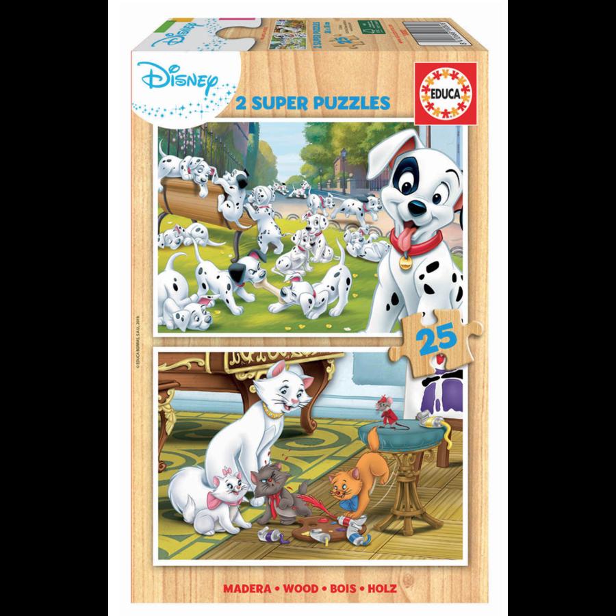 HOUT: Disney - Dalmatiërs - Aristokatten - 2 x 25 stukjes-1