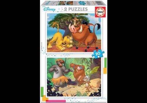 Educa Disney - Roi Lion - Livre de la jungle - 2 x 20 pièces