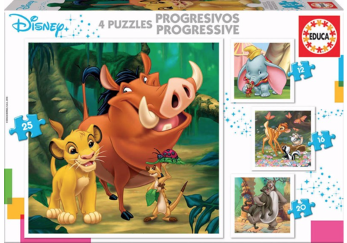 4 puzzles of Disney animals - 12, 16, 20 and 25 pieces