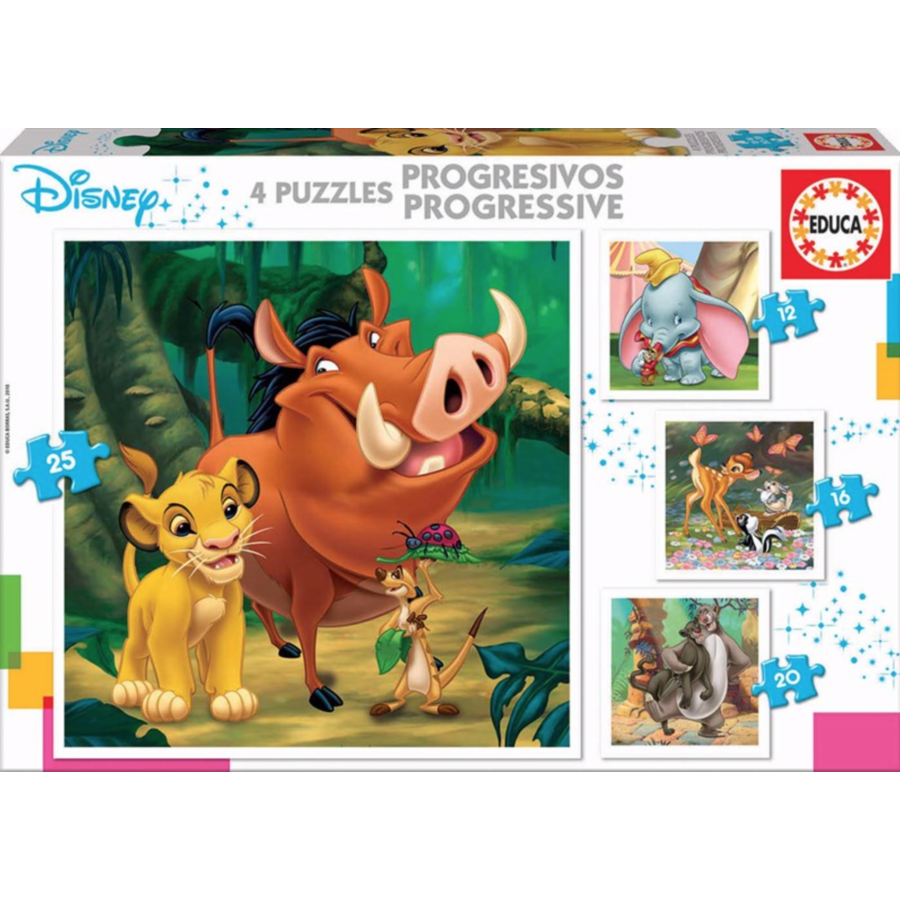 4 puzzles of Disney animals - 12, 16, 20 and 25 pieces-1