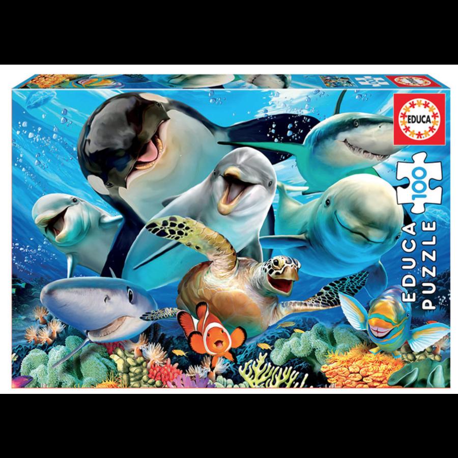 Selfie onder water - puzzel van 100 stukjes-1