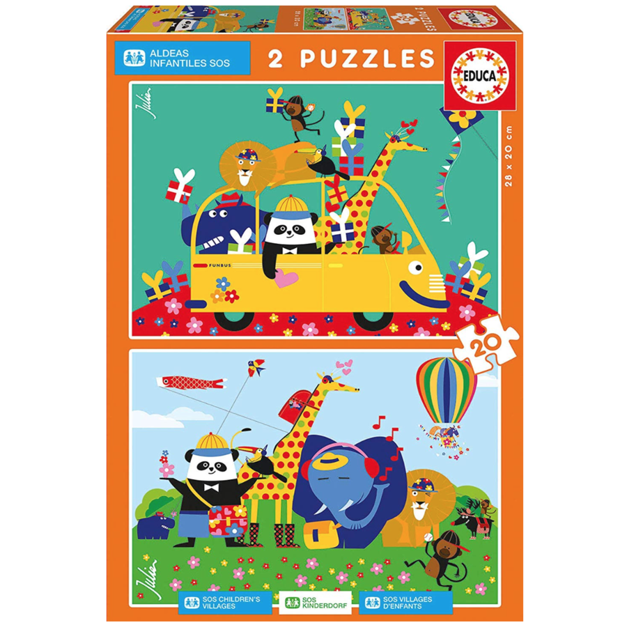 A colourful mess of animals  - 2 x 20 pieces-1