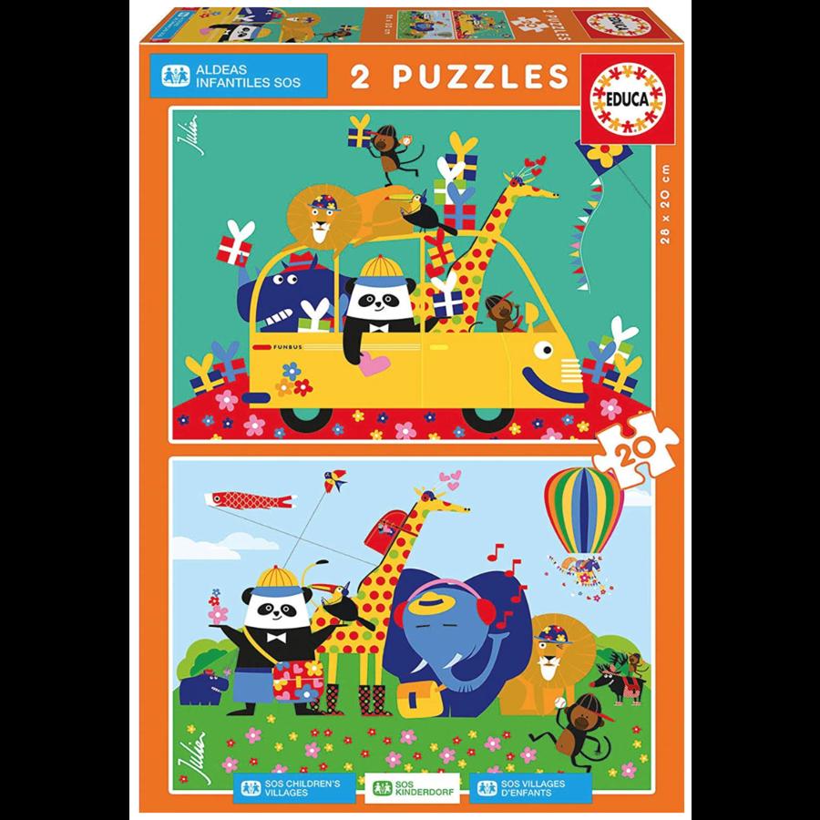 Un désordre coloré d'animaux  - 2 x 20 pièces-1