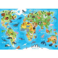 thumb-Animal world map - puzzle of 150 pieces-1