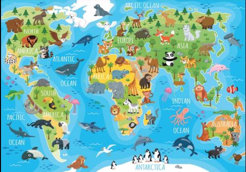 Animal world map - 150 pieces