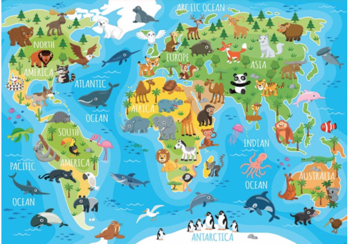 Educa Wereldkaart dieren - 150 stukjes