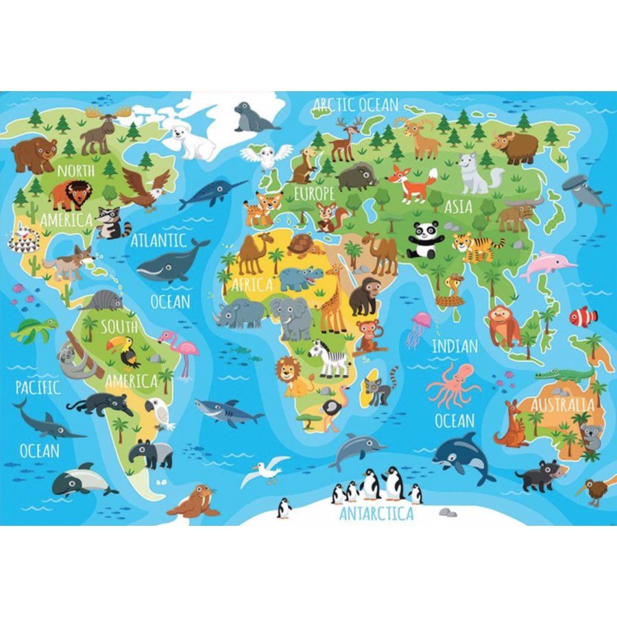 Animal world map - puzzle of 150 pieces-1