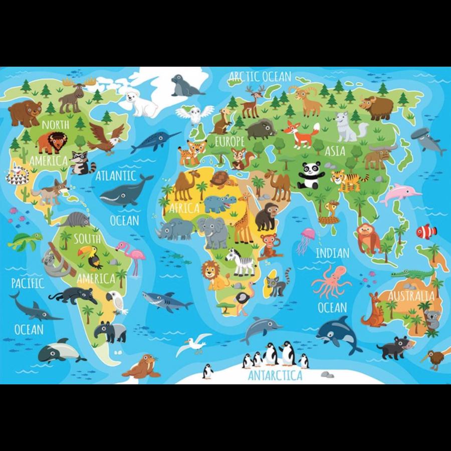 Wereldkaart dieren - puzzel van 150 stukjes-1