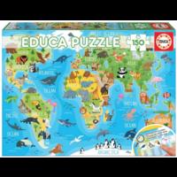 thumb-Wereldkaart dieren - puzzel van 150 stukjes-2