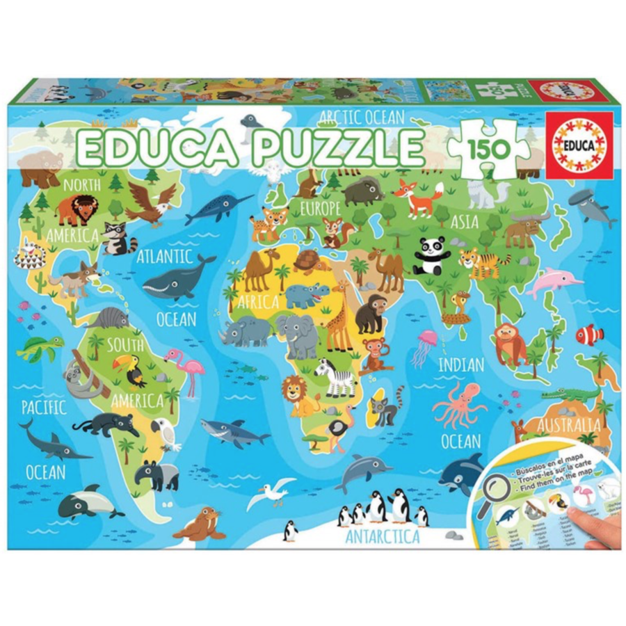 Mappemonde animaux - puzzle de 150 pièces-2