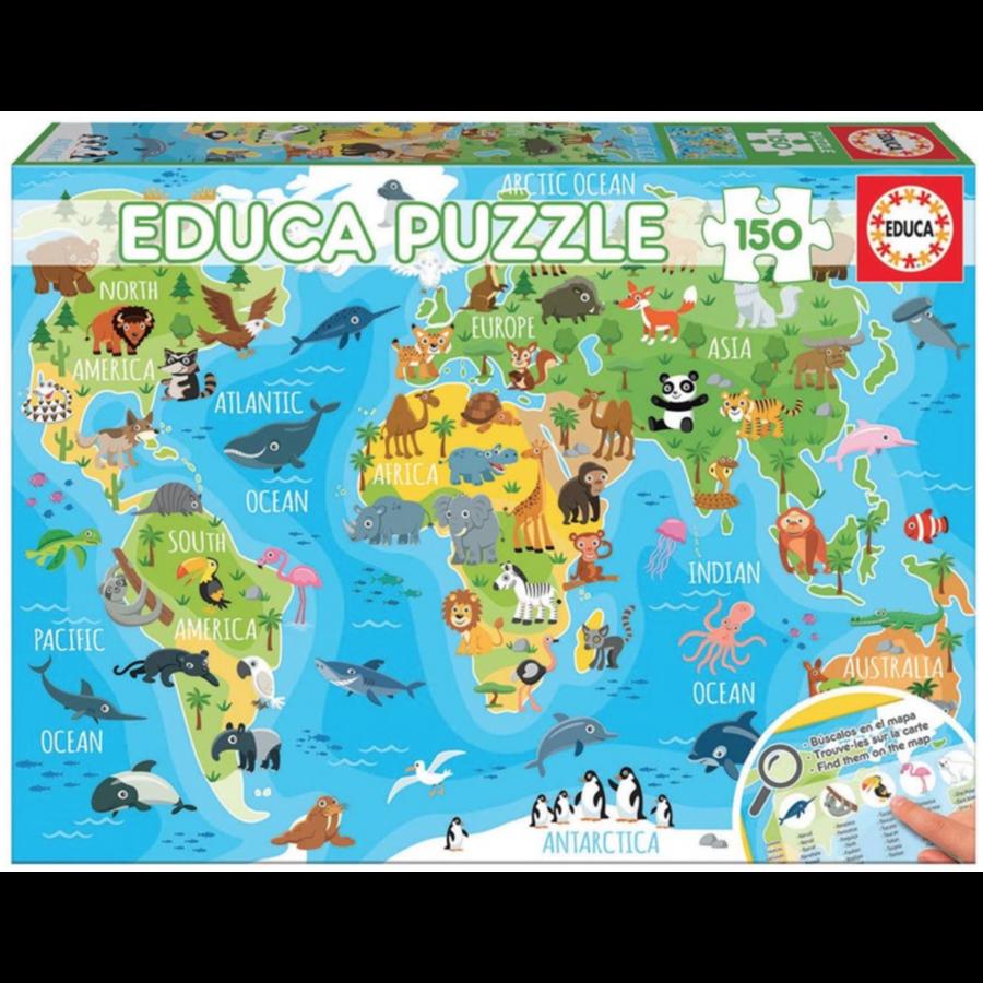 Wereldkaart dieren - puzzel van 150 stukjes-2
