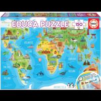 thumb-Wereldkaart monumenten - puzzel van 150 stukjes-1