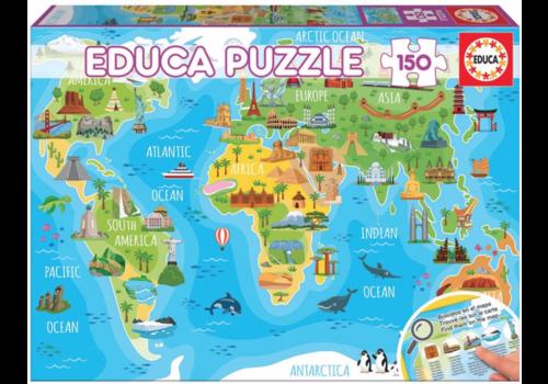 Educa Wereldkaart monumenten - 150 stukjes