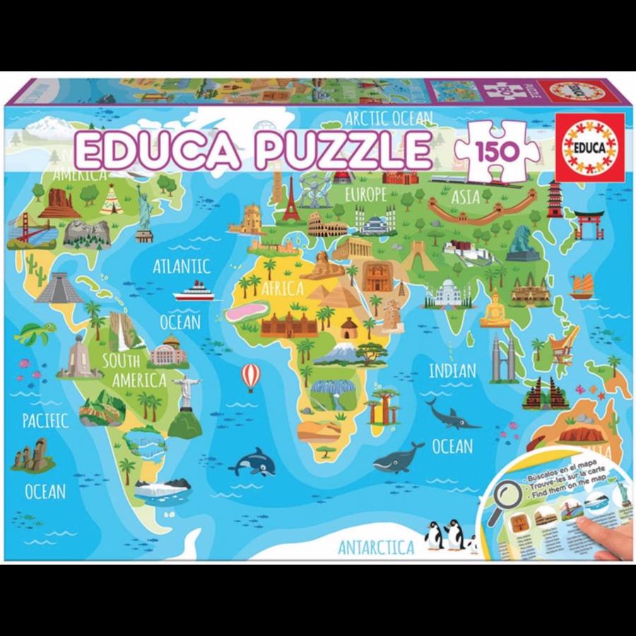 Mappemonde monuments - puzzle de 150 pièces-1