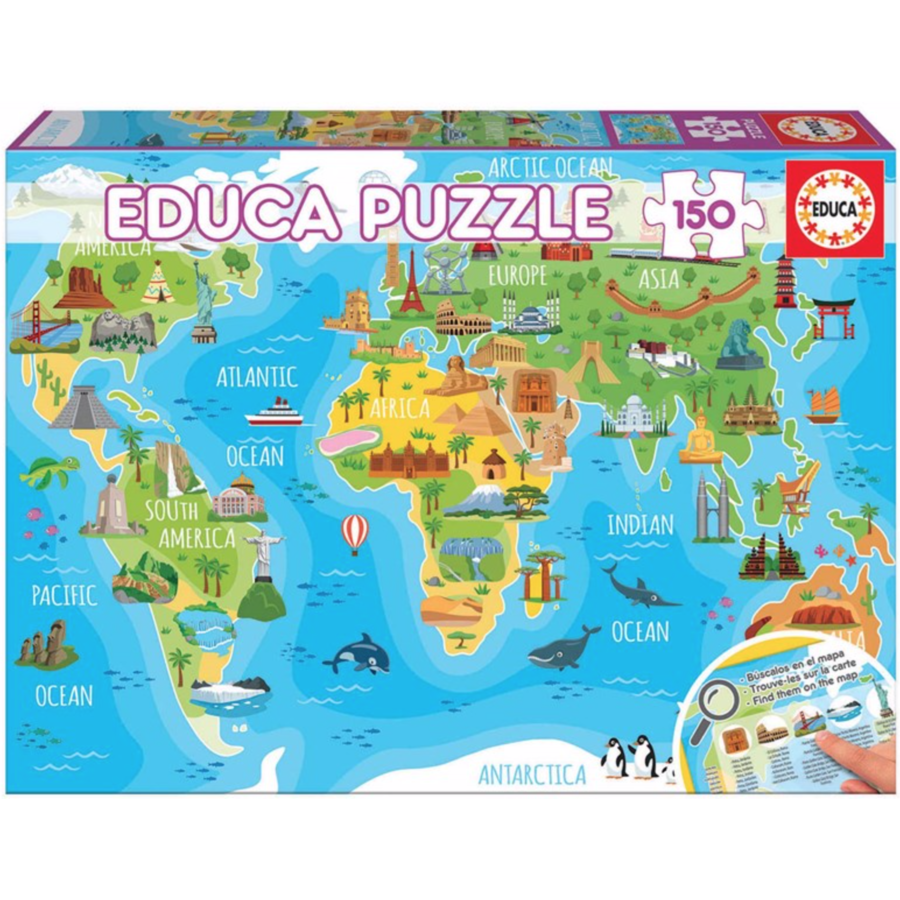Monuments world map - puzzle of 150 pieces-1