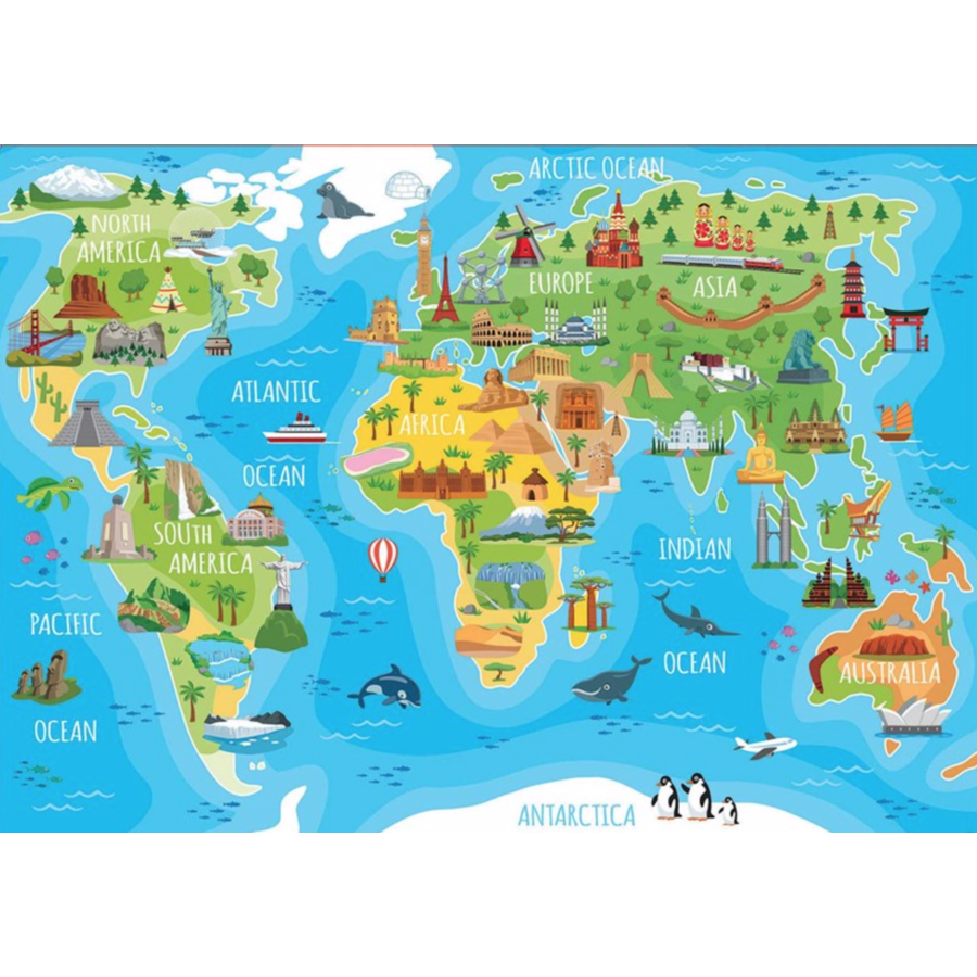 Mappemonde monuments - puzzle de 150 pièces-2