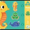 Djeco 3 puzzels dieren in de zee - 4, 6 en 9 stukjes