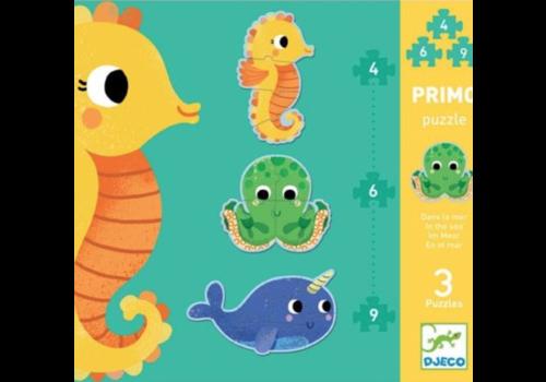 Djeco 3 puzzles dans la mer - 4, 6 et 9 pièces