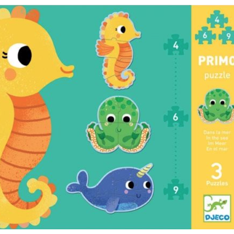 3 puzzles animals in the sea - 4, 6 and 9 pieces-1