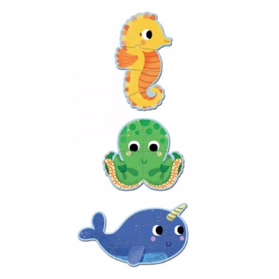 3 puzzles animals in the sea - 4, 6 and 9 pieces-2