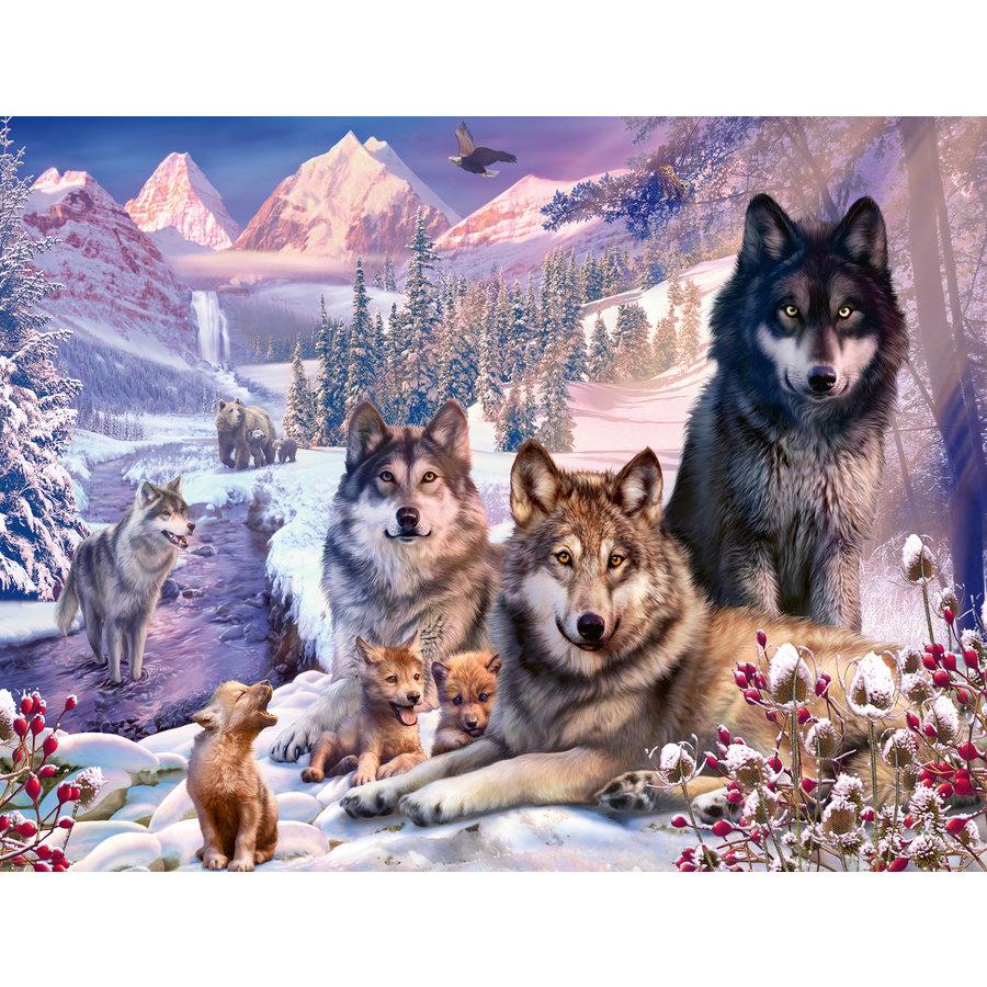 Wolven in de sneeuw - puzzel van 2000 stukjes-1