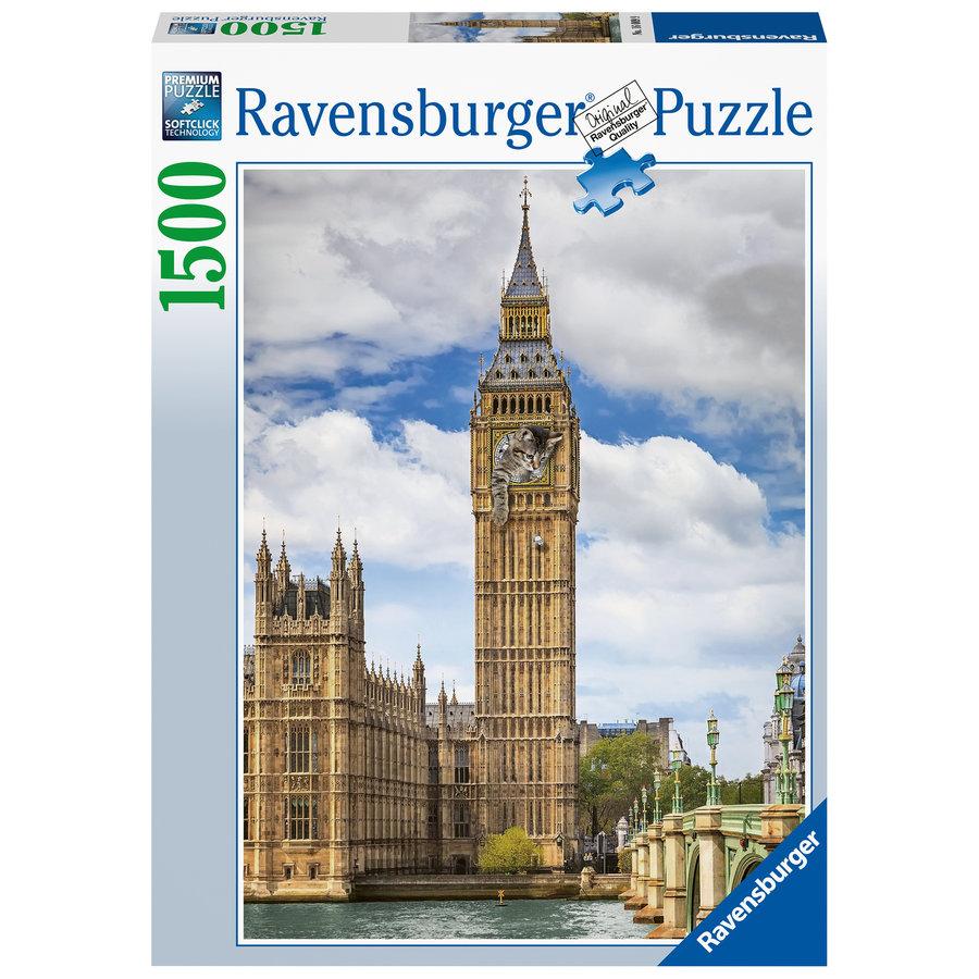 Grappige kat op de Big Ben - puzzel van 1500 stukjes-2