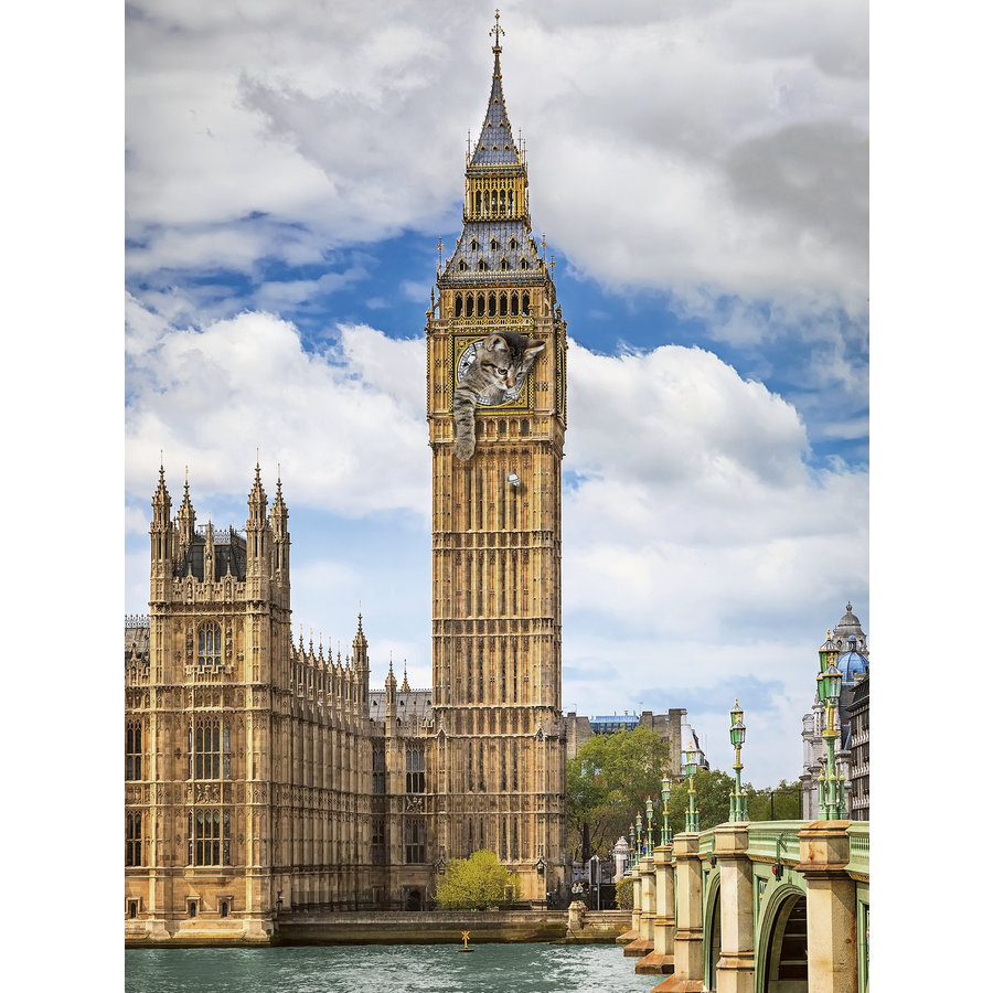 Funny cat on Big Ben - puzzle of 1500 pieces-1