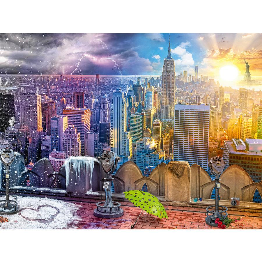 New York, winter en zomer - puzzel van 1500 stukjes-1