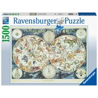 thumb-Wereldkaart met fantastische dieren- puzzel van 1500 stukjes-2