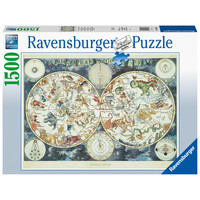 thumb-World map with fantastic animals - puzzle of 1500 pieces-2