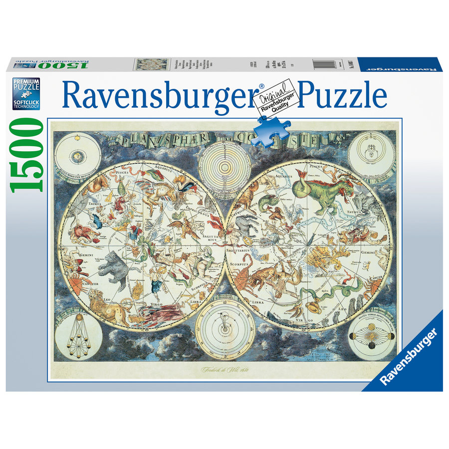 World map with fantastic animals - puzzle of 1500 pieces-2