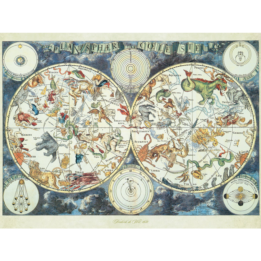 World map with fantastic animals - puzzle of 1500 pieces-1