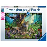 thumb-Famille de loups dans la forêt  - puzzle de 1000 pièces-2