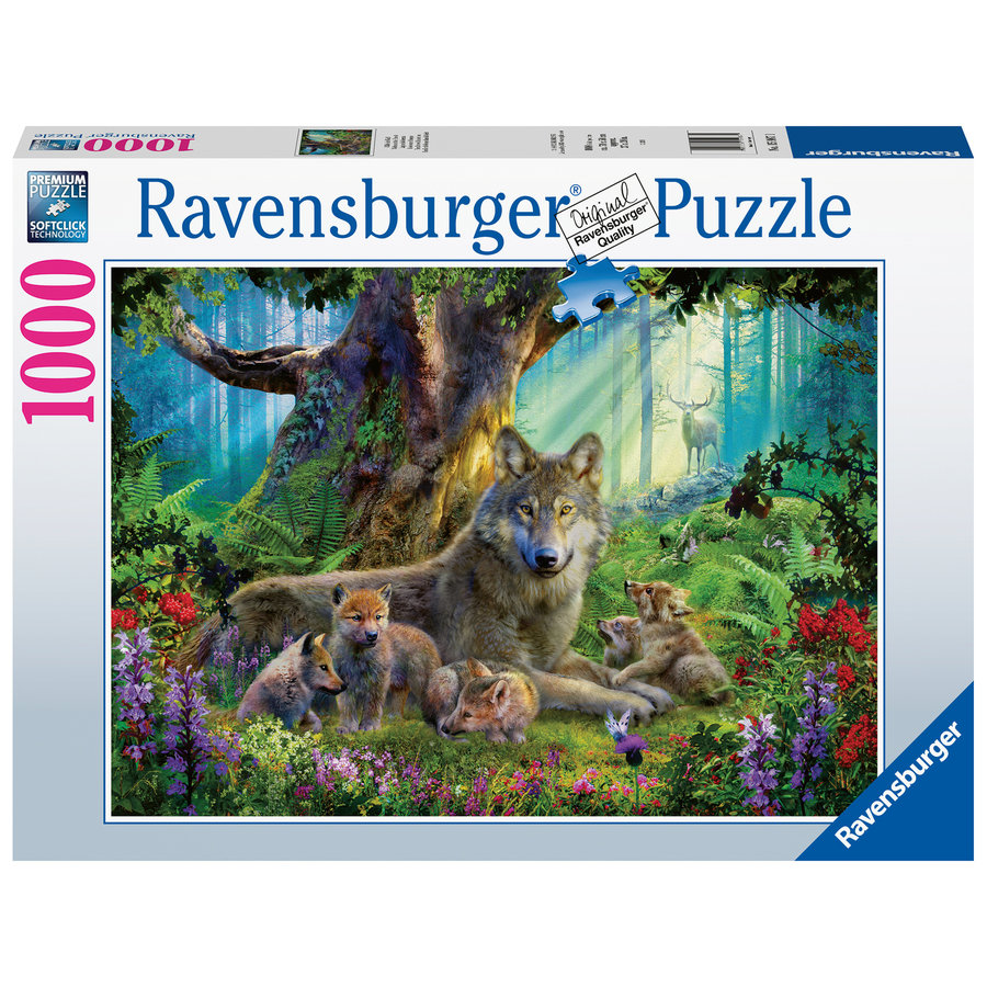 Wolf family in the forest  - puzzle of 1000 pieces-2