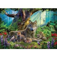 thumb-Famille de loups dans la forêt  - puzzle de 1000 pièces-1