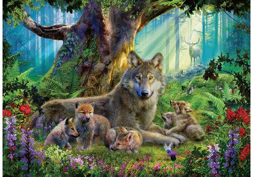 Famille de loups dans la forêt - 1000 pièces