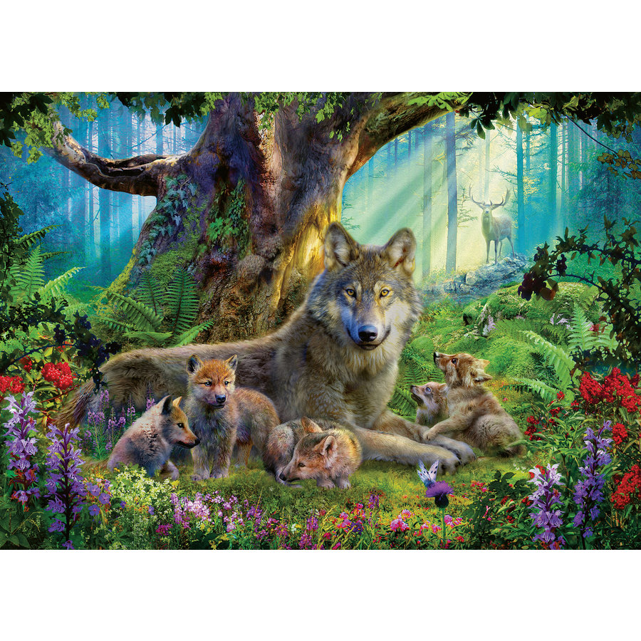 Wolf family in the forest  - puzzle of 1000 pieces-1