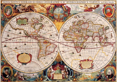 Bluebird Puzzle Ancienne carte du monde - 1000 pièces