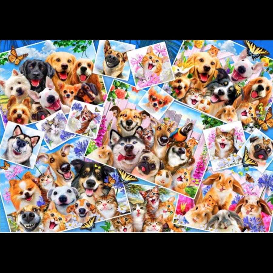 Collage de selfies d'animaux - puzzle de 1000 pièces-1
