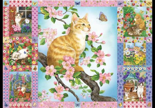 Couette de fleurs et de chatons - 1000 pièces