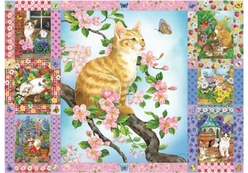 Quilt met bloesems en kittens - 1000 stukjes